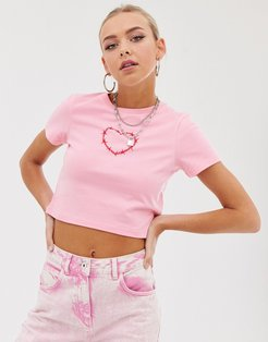 cropped t-shirt with barb wire heart-Pink