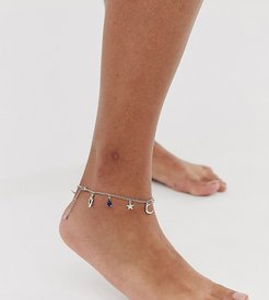 ASOS DESIGN Curve anklet with mystical charms and hamsa hand pendants in silver tone-Gold