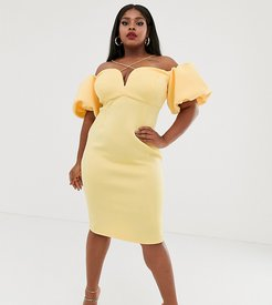 ASOS DESIGN Curve bardot bubble sleeve strappy midi dress-Yellow