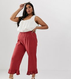 ASOS DESIGN Curve broderie pants with ruffle hem and trim-Red