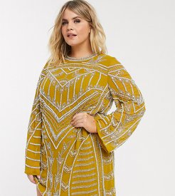 ASOS DESIGN Curve chandelier embellished mini shift dress-Yellow