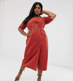 ASOS DESIGN Curve denim double breasted midi dress with short sleeve in rust-Orange
