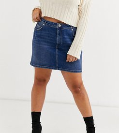ASOS DESIGN Curve denim original high waisted skirt in dark stonewash blue