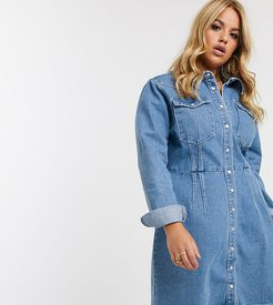 ASOS DESIGN Curve denim structured shirt dress in blue