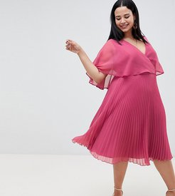 ASOS DESIGN Curve flutter sleeve midi dress with pleat skirt-Pink