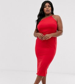 ASOS DESIGN Curve going out one shoulder bodycon midi dress-Red
