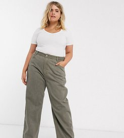 ASOS DESIGN Curve High rise 'relaxed' dad jeans in khaki-Green