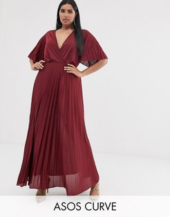 ASOS DESIGN Curve kimono pleated maxi dress-Red