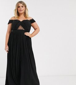 ASOS DESIGN Curve lace and pleat bardot maxi dress-Black