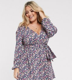 ASOS DESIGN Curve long sleeve mini dress with shirred waist in blue ditsy print-Multi