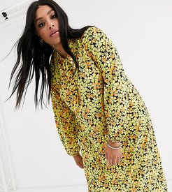 ASOS DESIGN Curve long sleeve tie front midi dress in yellow floral-Multi