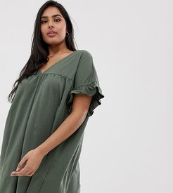 ASOS DESIGN Curve mini reversible cotton slub smock dress-Green