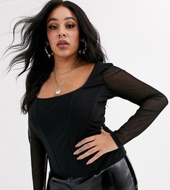 ASOS DESIGN Curve seamed corset top with trim and mesh long sleeves in black