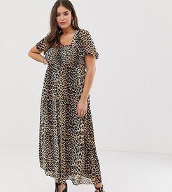 ASOS DESIGN Curve shirred bustier maxi dress with puff sleeve in animal print-Multi