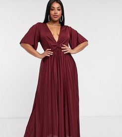 ASOS DESIGN Curve twist detail pleated kimono maxi dress-Red