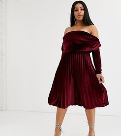 ASOS DESIGN Curve velvet long sleeve bardot pleated midi dress-Red