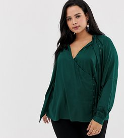 ASOS DESIGN Curve wrap long sleeve top with button detail and tie neck-Green