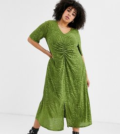 ASOS DESIGN Curve zebra burnout ruched waist midi dress-Green