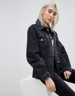 denim girlfriend jacket in washed black
