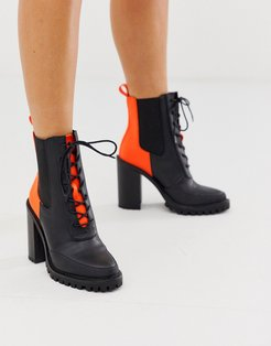 Ellen chunky lace up boots in neon-Multi