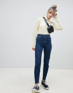 Farleigh high waisted slim mom jeans in dark london blue wash with exposed button fly