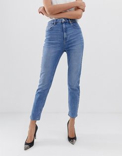 Farleigh high waisted slim mom jeans in light stone wash-Blue