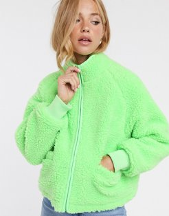 fleece zip through jacket in lime-Pink