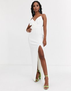 fold front scuba maxi dress with thigh split-White