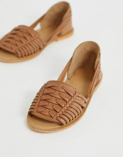 Fran leather woven flat sandals-Tan
