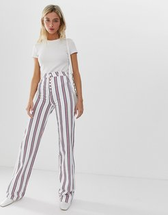Full length flare jeans in stripe with exposed fly detail-Multi