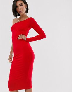 going out one sleeve bodycon midi dress-Red