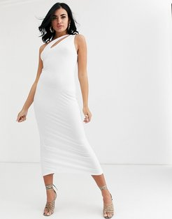 going out slash front maxi dress in white