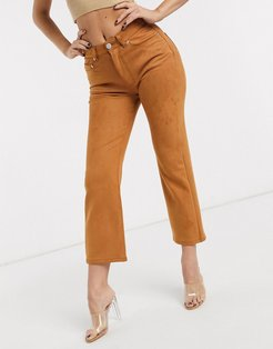 High rise 'effortless' stretch kick flare jeans in faux suede-Brown
