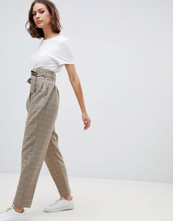 high waist balloon tapered pants in heritage check-Multi