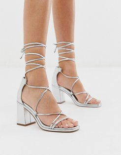 Host block heeled strappy sandals in silver