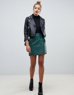leather look mini skirt with scallop edge-Green