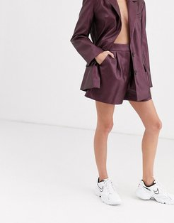 leather look suit shorts in purple