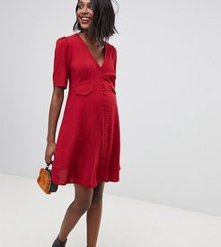 ASOS DESIGN Maternity button through mini skater dress with pockets-Red