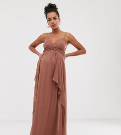 ASOS DESIGN Maternity cami maxi dress with soft layered skirt and ruched bodice-Brown