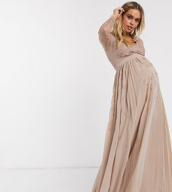ASOS DESIGN Maternity embroidered pleated mesh detail maxi dress-Gold