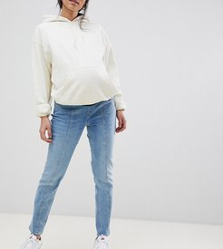 ASOS DESIGN Maternity kimmi boyfriend jeans in mid wash blue with vertical seam detail with over the bump waistband