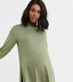 ASOS DESIGN Maternity longline top with long sleeve in textured jersey in khaki-Green