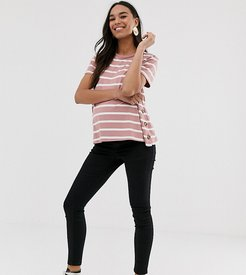 ASOS DESIGN Maternity nursing t-shirt with button sides in pink stripe-Multi