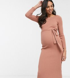 ASOS DESIGN Maternity off shoulder tie front knitted midi dress-Brown