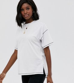 ASOS DESIGN Maternity oversized t-shirt with stepped hem and contrast stitching-White