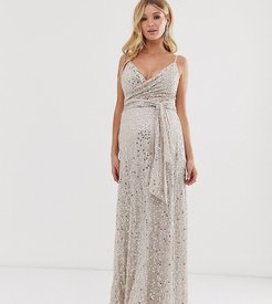 ASOS DESIGN Maternity tie waist maxi dress in all over sequin-Gold