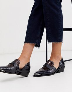 Mayor leather western loafer in navy and burgundy-Multi