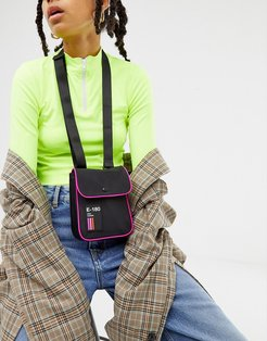 messenger bag with neon piping-Black