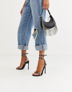 Number barely there heeled sandals with studs in reflective-Black
