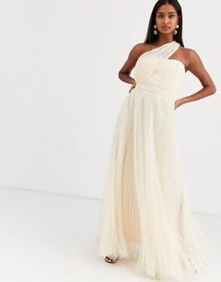 one shoulder tulle wired hem maxi dress-Cream